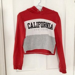 Girls Cropped Red Color Block Hoodie - H&M
